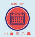 calendar with check mark- line icon vector image vector image