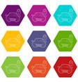 car and padlock icons set 9 vector image