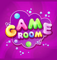 cartoon kids game room poster template vector image vector image