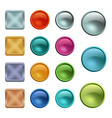 Colored blank buttons template with metal texture vector image vector image