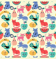 cute cat and summer fruit seamless pattern vector image vector image