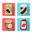 design of can and food logo set of can and vector image