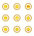 different smileys icons set cartoon style vector image