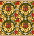 fairytale town seamless pattern with small houses vector image