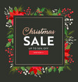 floral christmas sale flyer winter holiday vector image