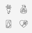 gift flat contour shop icon set on white vector image vector image