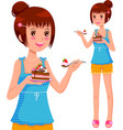 Girl eating cake vector image