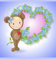 girl in suit a teddy bear with a rose vector image vector image