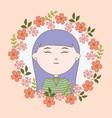 girl portrait flowers cartoon character vector image