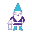 gnome with costume and hand lamp on color sections vector image vector image