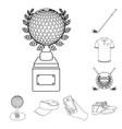 golf and attributes outline icons in set vector image vector image