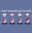 hair transplantation steps vector image