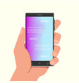 hand holding phone with gradient mesh wallpapers vector image