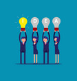 happy business team holding idea light bulbs vector image