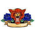 head a lion in a flower ornament vector image vector image