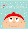 merry christmas candy cane baby boy wearing red vector image vector image