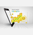 mobile phone 3d and graph gold price charts vector image vector image