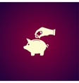 piggy bank and hand with coin black icon vector image vector image