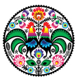 Polish floral embroidery with roosters pattern vector image vector image