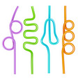 realistic 3d detailed color drinking straws set vector image vector image