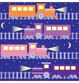 Seamless pattern with night trains vector image vector image