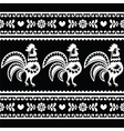 Seamless Polish monochrome folk art pattern with r vector image vector image