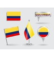 Set of Colombian pin icon and map pointer flags vector image