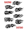 Set of motor racing tattoos vector image vector image