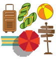 set vacation and travel icon in flat style vector image