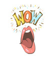 sexy open female mouth screaming and wow speech vector image vector image