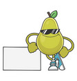 smiling pear fruit cartoon with sunglasses vector image