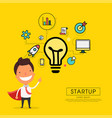 superhero businessman cartoon for start up concept vector image vector image