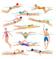 swimming people in action poses vector image
