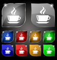 tea coffee icon sign Set of ten colorful buttons vector image vector image