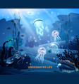underwater life background light poster vector image