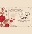 vintage postcard with eiffel tower and roses vector image vector image