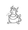 white metal bull with lucky chinese talisman vector image vector image