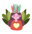world mental health day happy girl with foliage vector image vector image