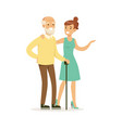 young woman helping and supporting elderly man vector image vector image