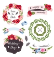Wedding collection with hand-drawn flowers and vector image