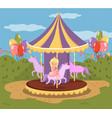 vintage carousel with horses amusement park vector image