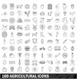 100 agricultural icons set outline style vector image vector image