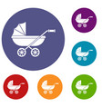 baby carriage icons set vector image vector image