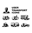Black user transport glossy icon set vector image vector image