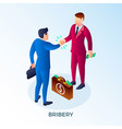 bribery two man concept background isometric vector image
