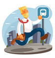 business woman running and hurry up flat design vector image