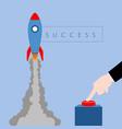 businessman launching a rocket success business vector image