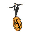 businessman standing on big golden coin vector image
