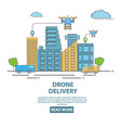city drone delivery in flat vector image vector image