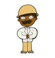 comic cartoon man in safari hat vector image vector image